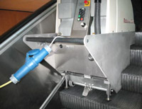 State of the art escalator cleaning equipment